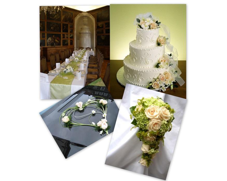 Svatební kytky, květiny pro nevěstu, ženicha, výzdoba svatební tabule