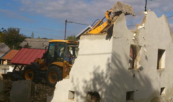 Bourání, demolice objektů, domů a výkopy základů domu
