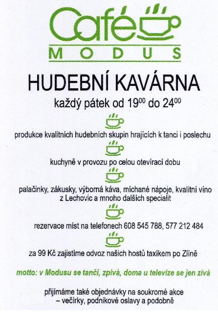 Taneční večery v pátek a sobotu v hudební kavárně Café Modus Zlín