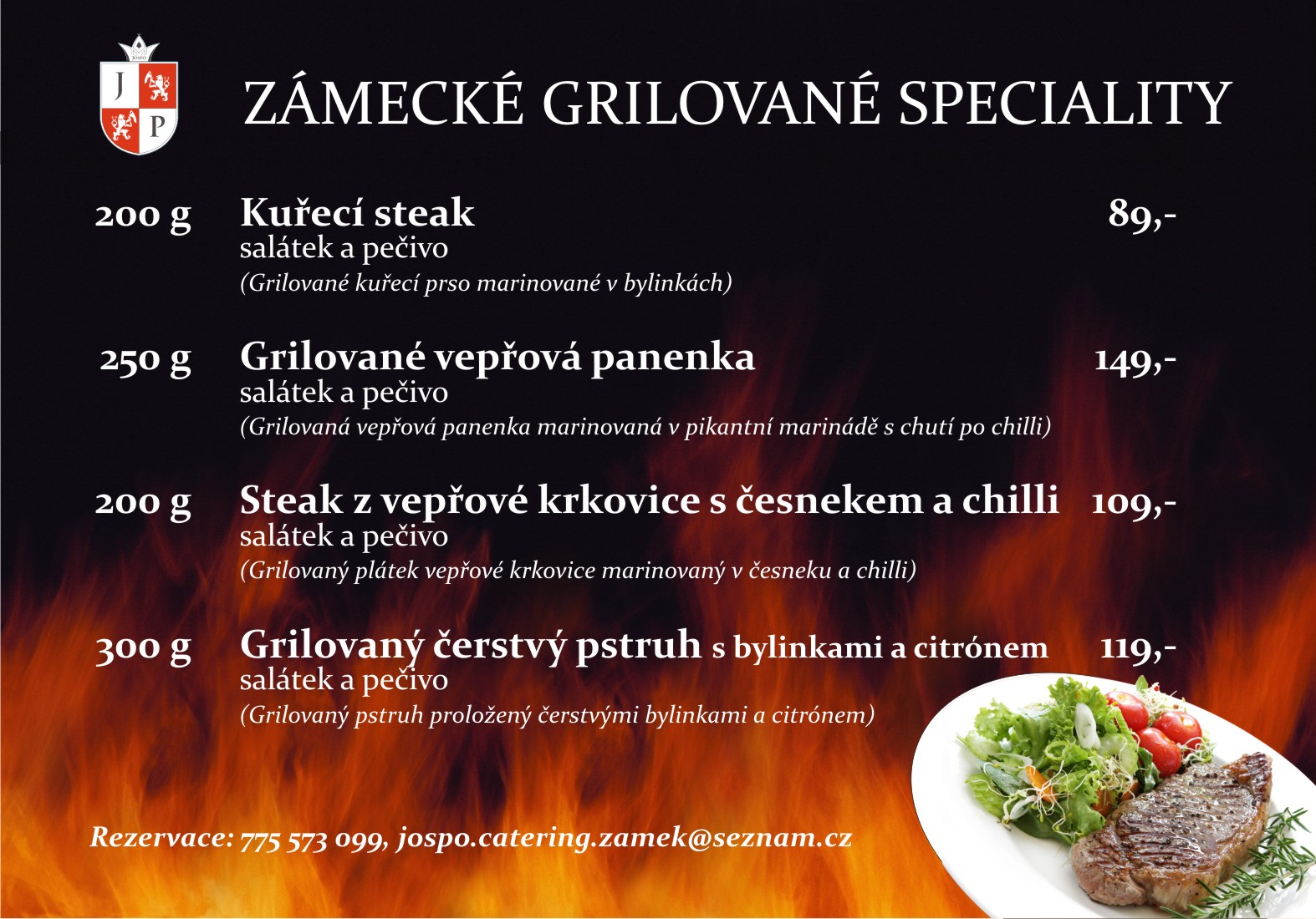 Grilované speciality, grilování v Zámecké restauraci v Holešově