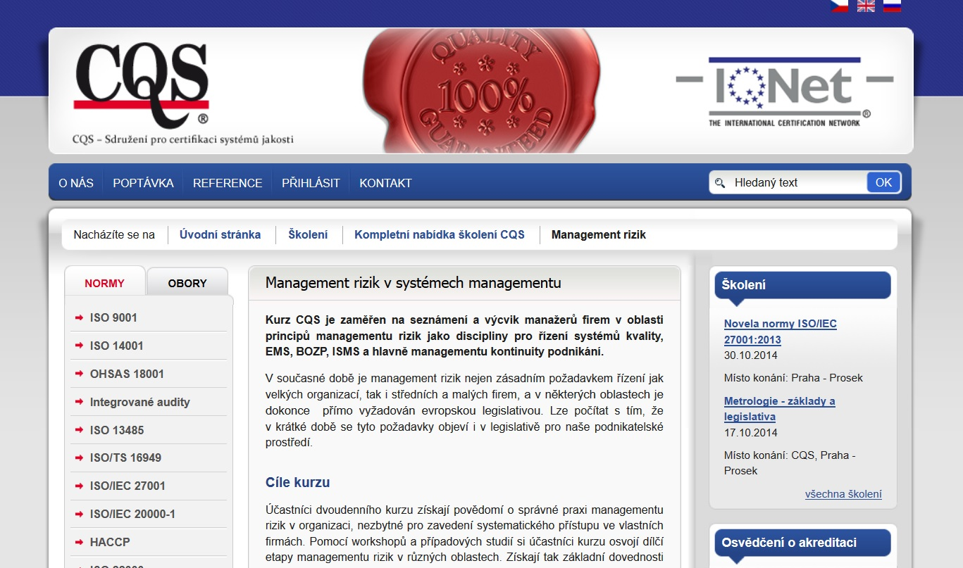 Kurz - Aplikace managementu rizik v rámci systémů managementu, Praha
