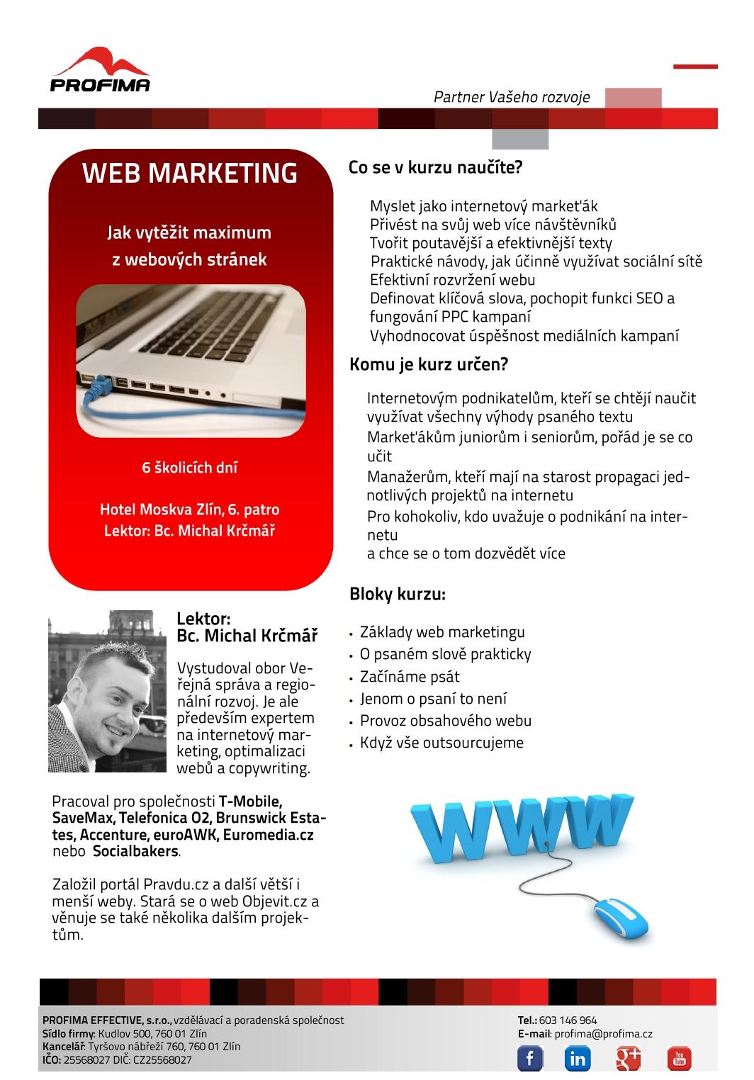 náplň kurzu - Školení web marketingu