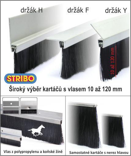 Těsnící dveřní kartáče STRIBO pro utěsnění vrat, dveří, turniketů, zastřešení bazénů