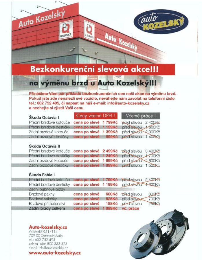 Akce na výměnu brzd Ostrava