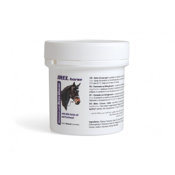 IREL Horse – mast s beta-glukanem;     K ošetření problematických a podrážděných míst kůže.