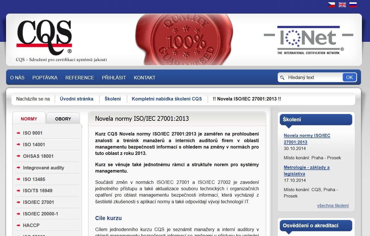 Otevřené školení Novela normy ISO 27001, Praha