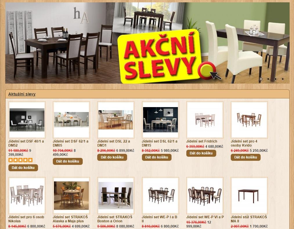 Akční nabídka na jídelní židle a stoly