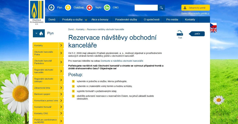 Online rezervace návštěvy v Pražské plynárenské, a. s.
