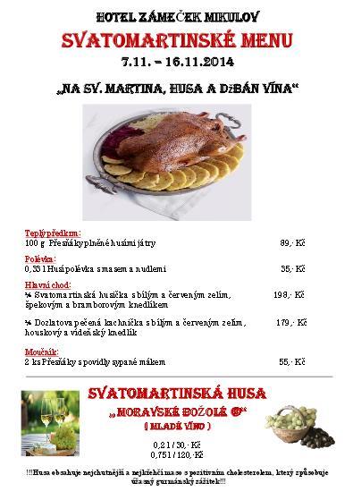 Svatomartinské menu v Hotelu Zámeček Mikulov