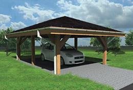 Kryté venkovní stání, dřevěný parkovací přístřešek-ochrana pro auto