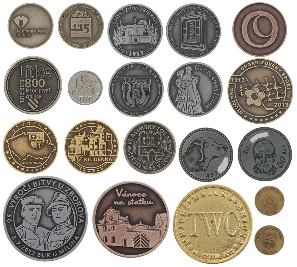 Výroba firemní, pamětní mince, plakety, žetony, přívěšky, klíčenky, odlévání na zakázku