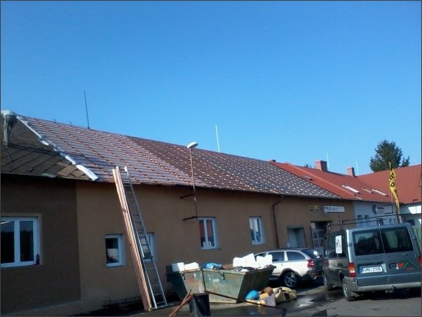 Rekonstrukce šikmé, ploché střechy-plechová krytina na střechy