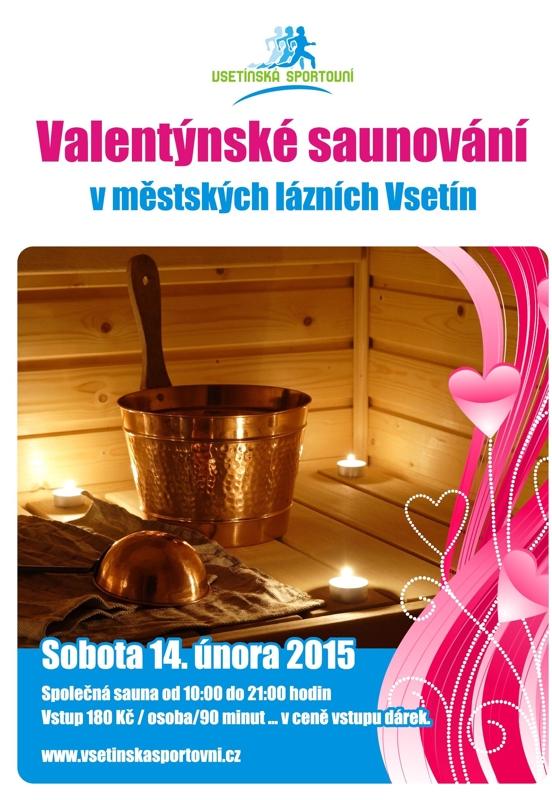 Valentýnské saunování, společná sauna, městské lázně Vsetín