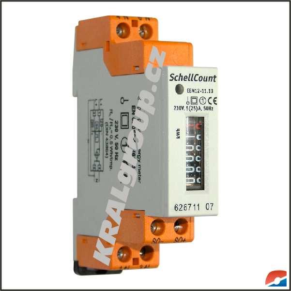Elektroměry na lištu DIN :: jednofázové - přímé :: pro podružné měření :: EEM 12-11.13 (25)A