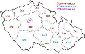 Plyn a elektřina ČR - mapy distribučních území