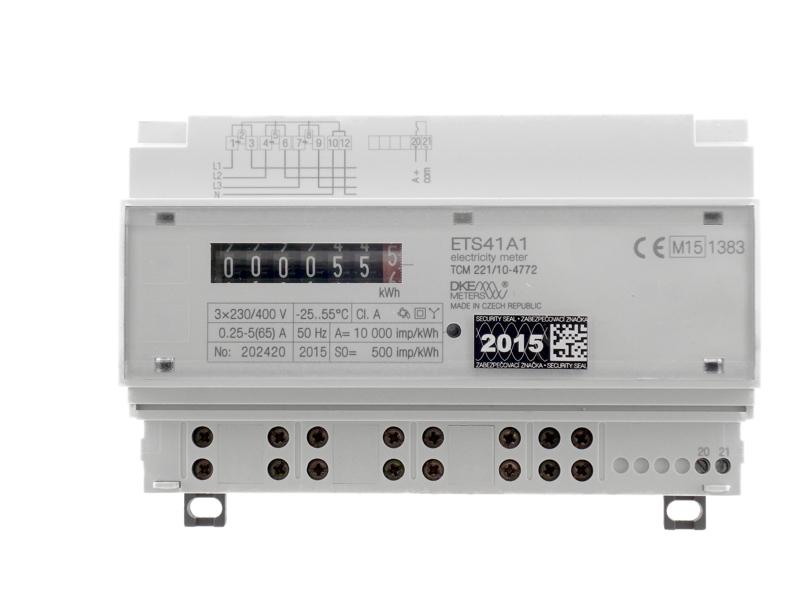 Třífázový přímý statický elektroměr typ ETS41A1 - montáž na lištu DIN