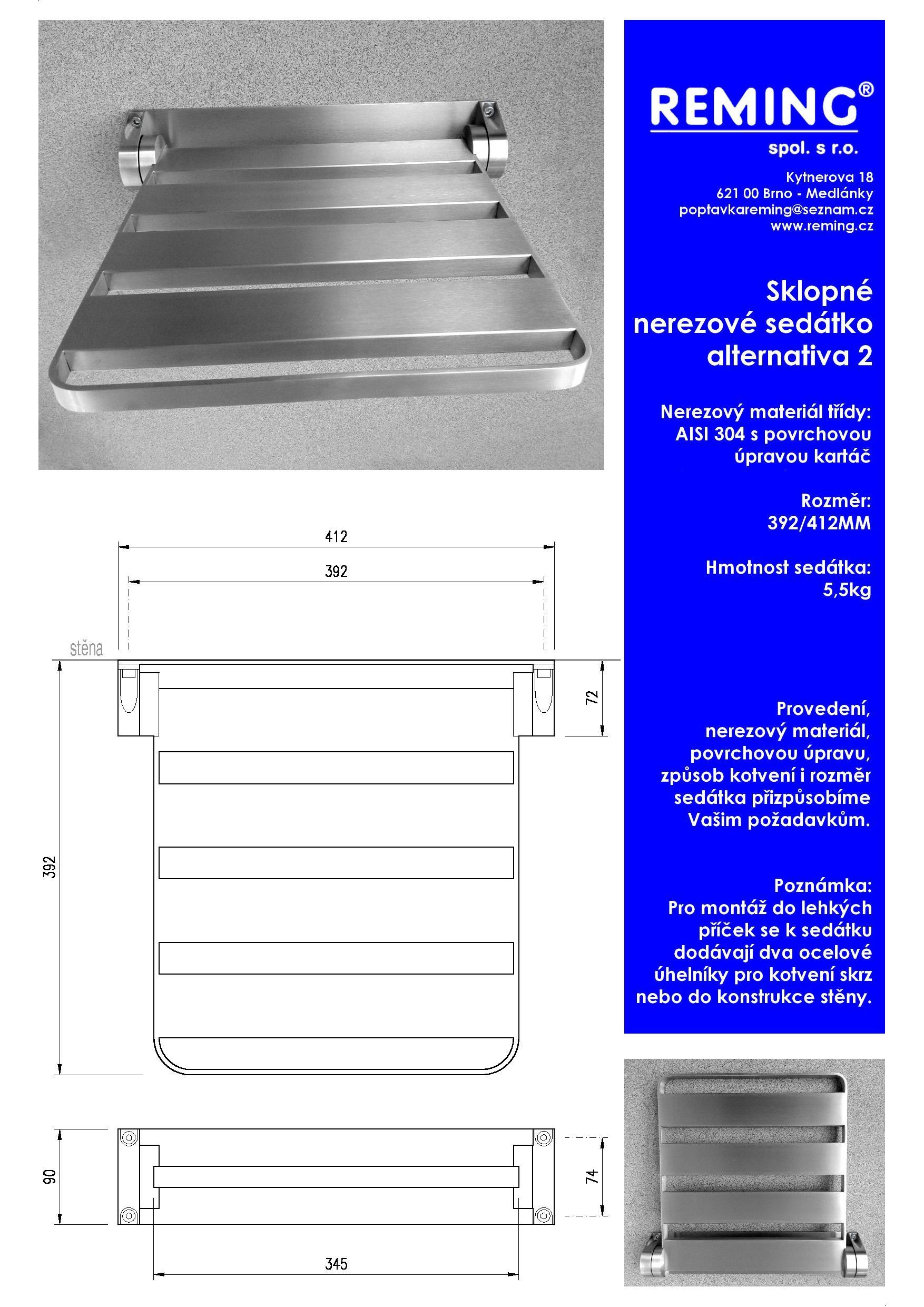 Sériová kovovýroba, sedátka do výtahů, interiérové nerezové prvky