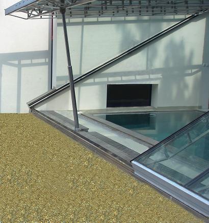 prosklená střecha s hydraulickým otevíráním