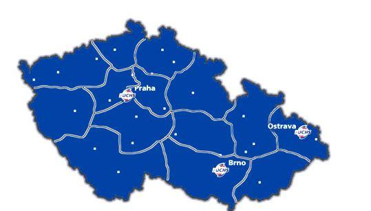Mapa s České republiky s vyznačenými pobočkami FUCHS
