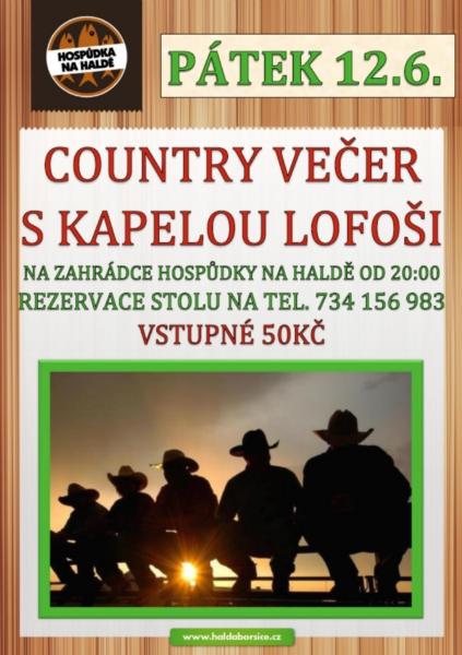Country večer, zábava-penzion na Haldě, Boršice, Uherské Hradiště