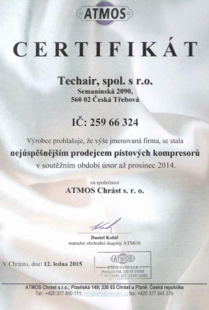 certifikát Techair