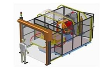robotická buňka s bezpečnostními rolovacími dveřmi