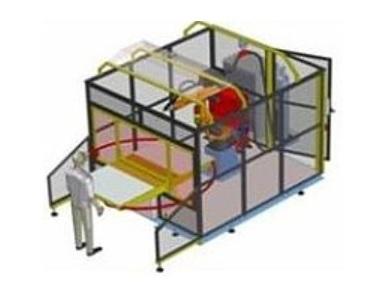 robotická buňka s ručně otočným stolem