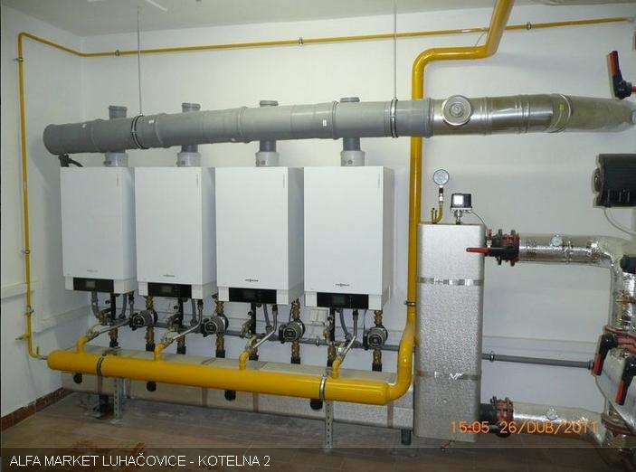 Plynová kondenzační kotelna - 4x kotel Viessmann 105kW