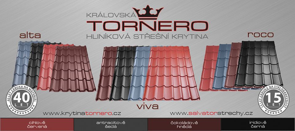 Hliníková střešní krytina Tornero, pálené, betonové tašky