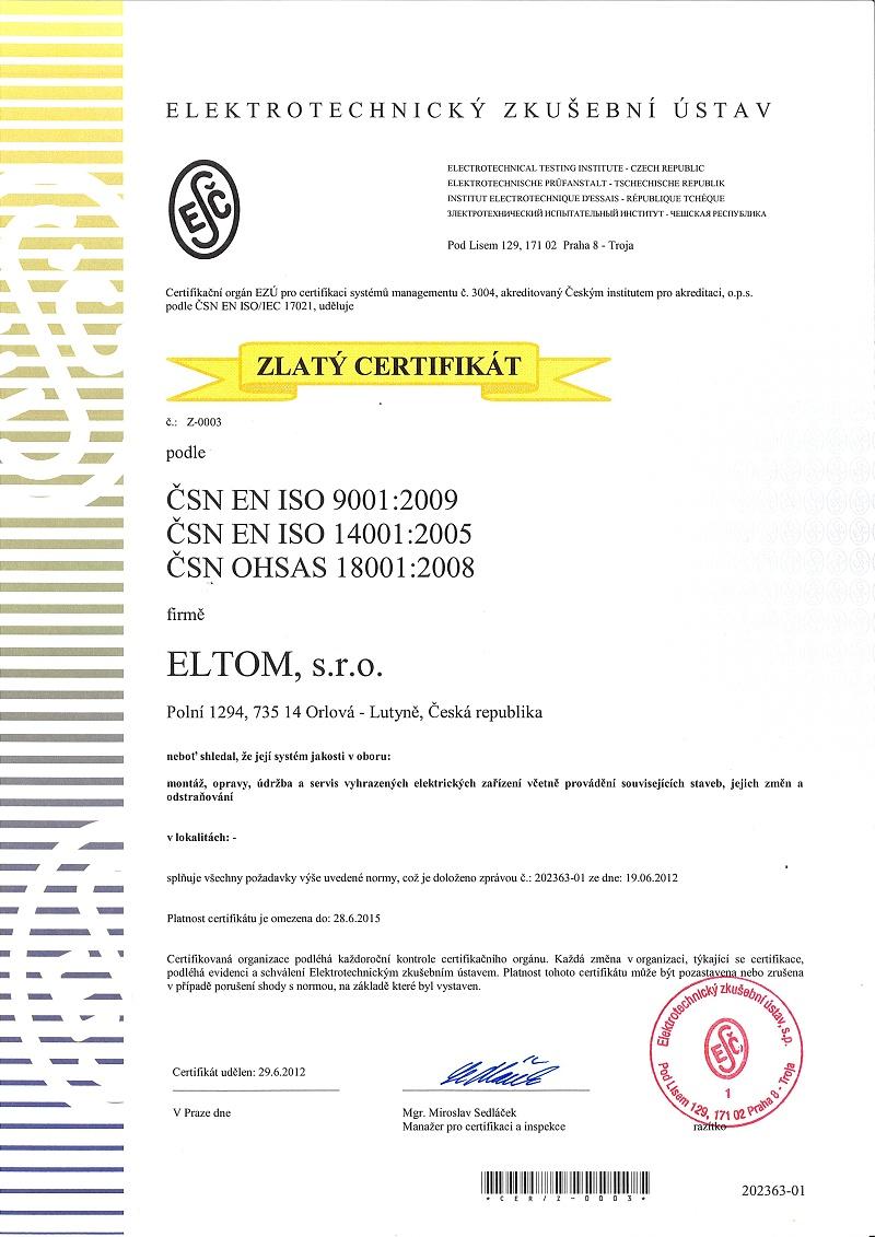 Naše služby jsou certifikované