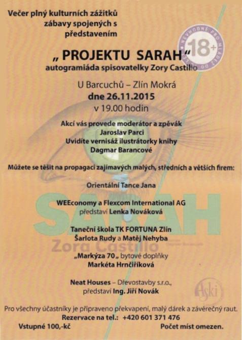 Kulturní akce Projekt Sarah, s podporou postižených dětí Zlín-vernisáž, autogramiáda