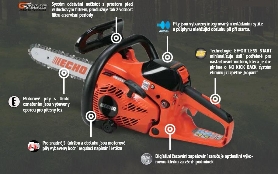 Elektrické řetězové, motorové pily ECHO-nízká spotřeba, vysoký výkon