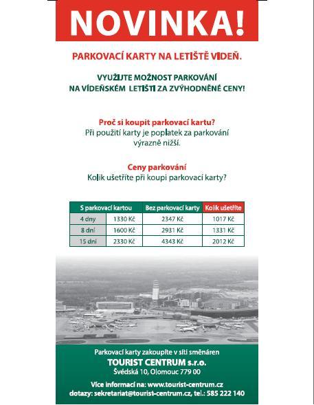 Parkovací karty, lístek, šek na letiště Praha, Vídeň za zvýhodněné ceny - prodej