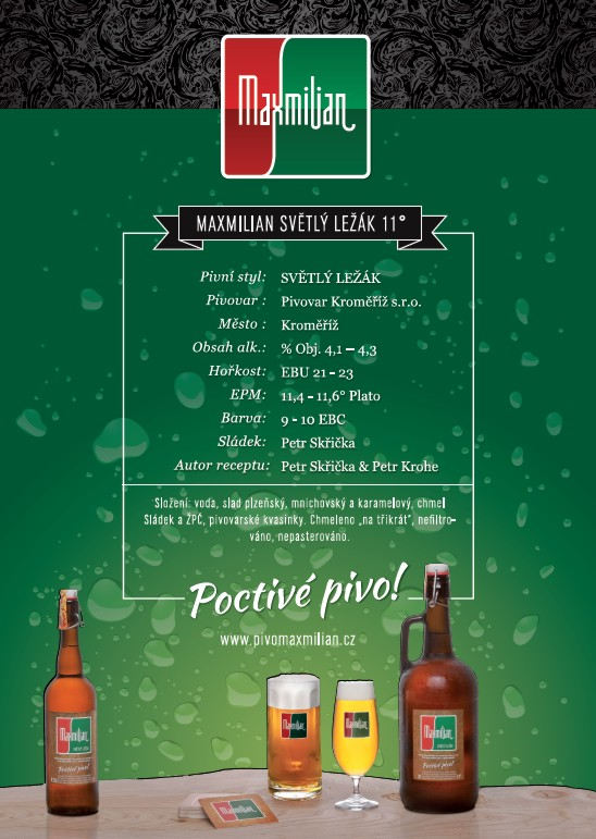Regionální pivovar Kroměříž-pivo Maxmilian, dárkové balení, výroba