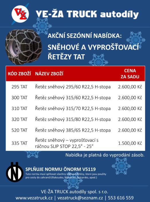 Kvalitní sněhové řetězy za akční ceny