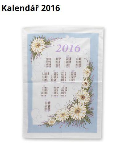kalendář pro rok 2016 potištěný na utěrce