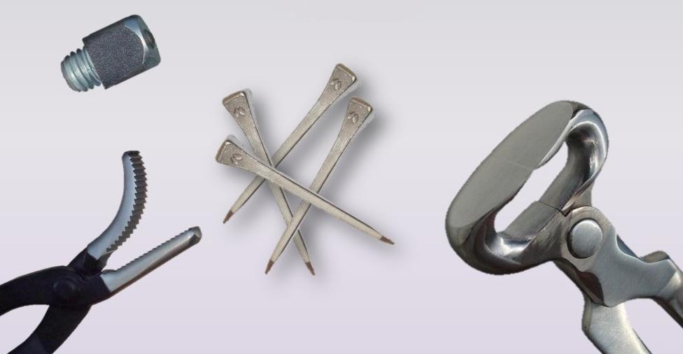 Podkovářské zboží, podkovy, hřebíky, ozuby, nářadí pro podkováře