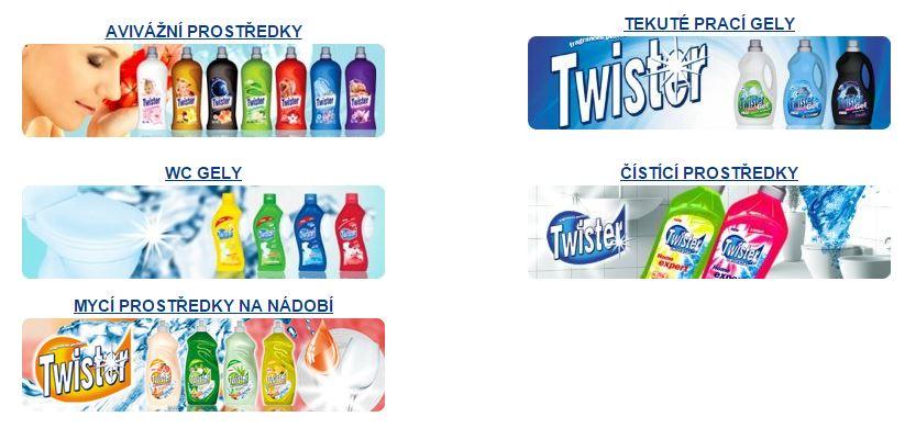 Bytová chemie Twister; prací prášky, čisticí prostředky i WC gely