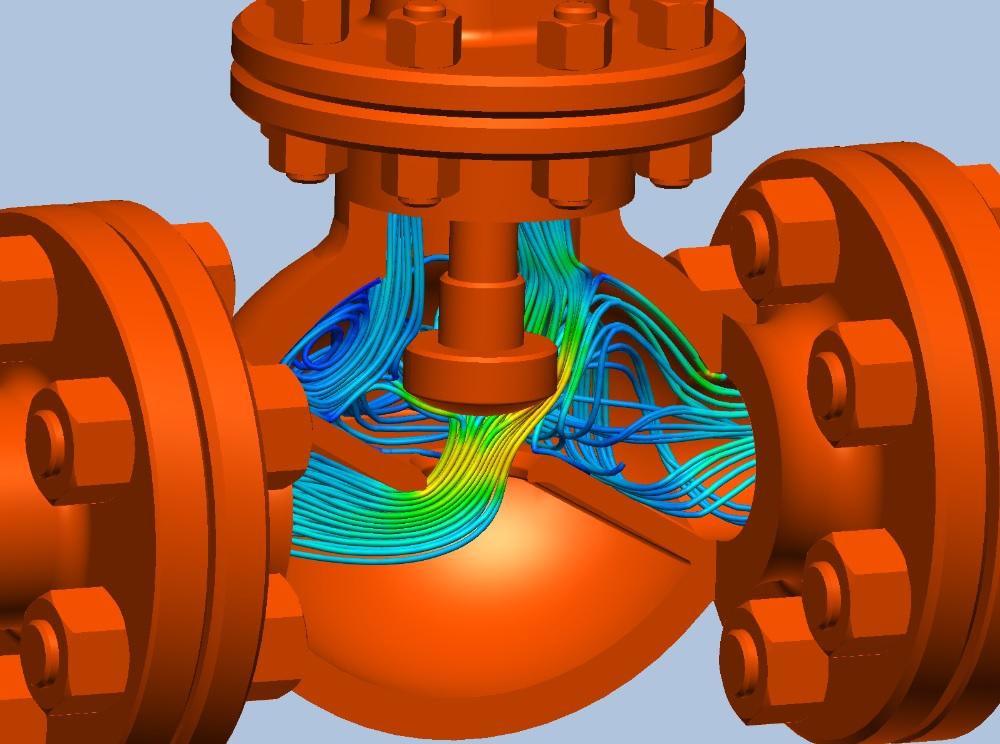 Trajektorie proudění zbarvené dle absolutní rychlosti ve ventilu