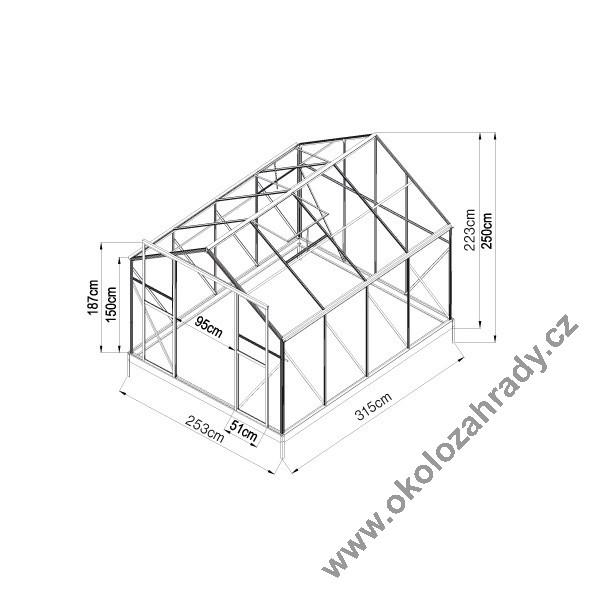 Skleník se speciální drážkovou konstrukcí z polykarbonátových desek, prodej