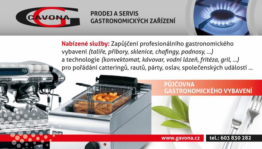 Půjčovna gastro vybavení na rauty, párty, oslavy a svatby Šumperk, Olomouc