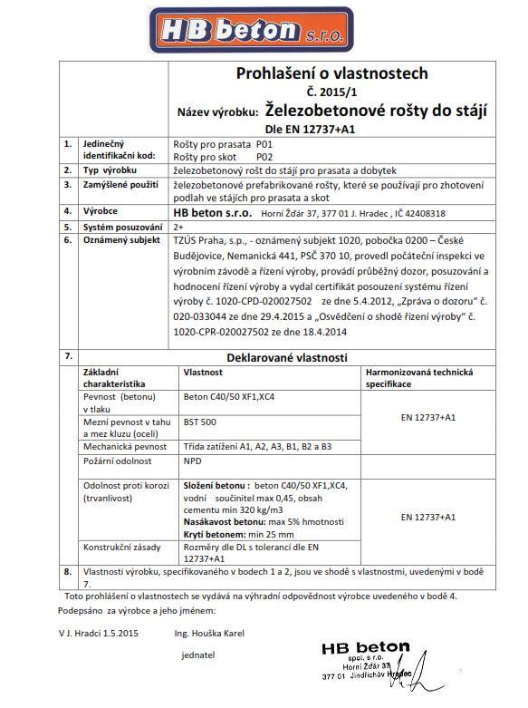 Certifikát - betonové rošty Jindřichův Hradec