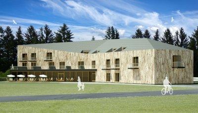 Architektonický návrh a studie nové budovy hotelu
