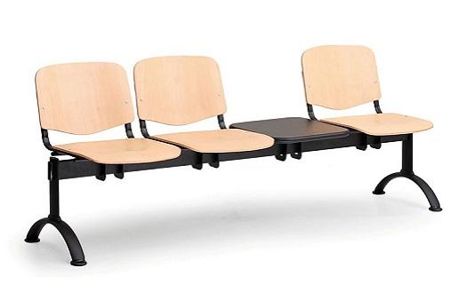 Dřevěné lavice do čekáren - trojsedák se stolkem