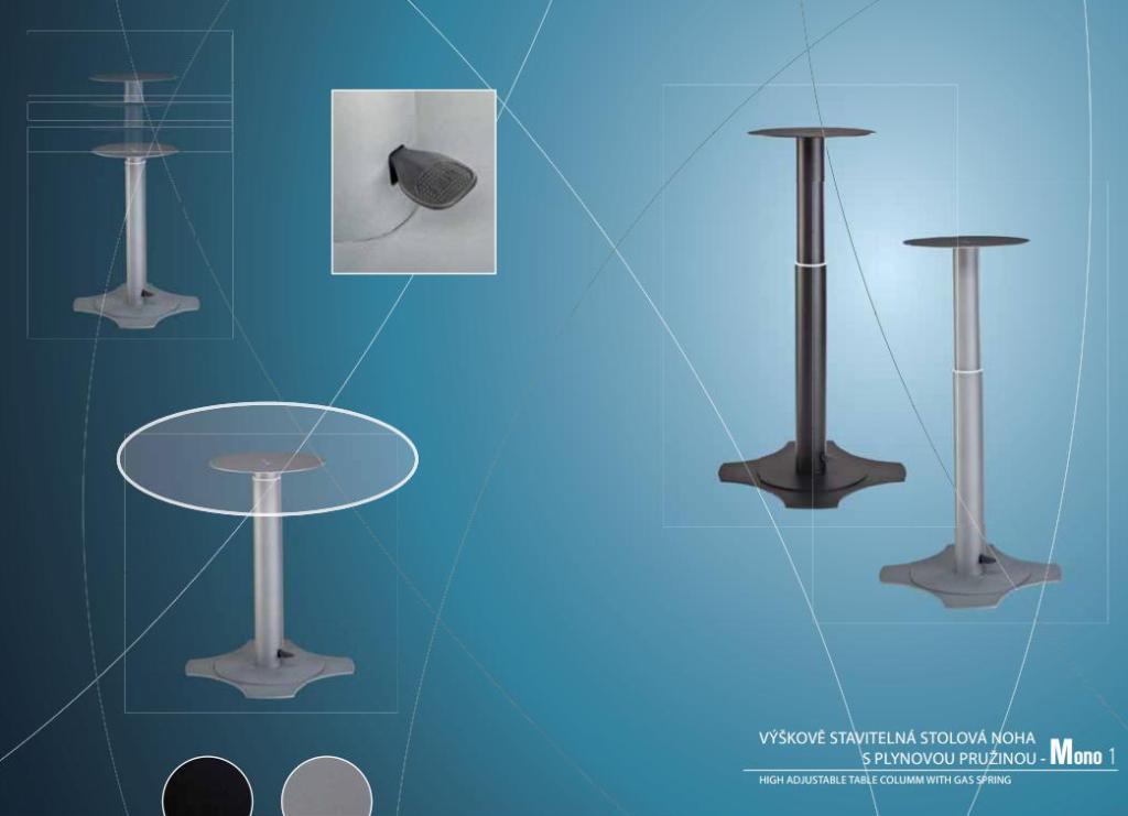 Výroba kovových součásti a nábytkových dílů - výškově stavitelná stolová podnoží