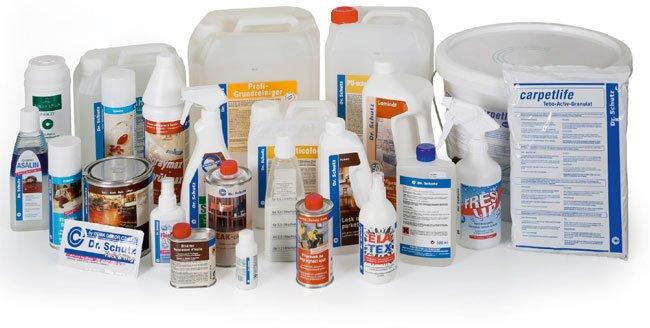 čistící prostředky, ošetřující produkty na podlahy