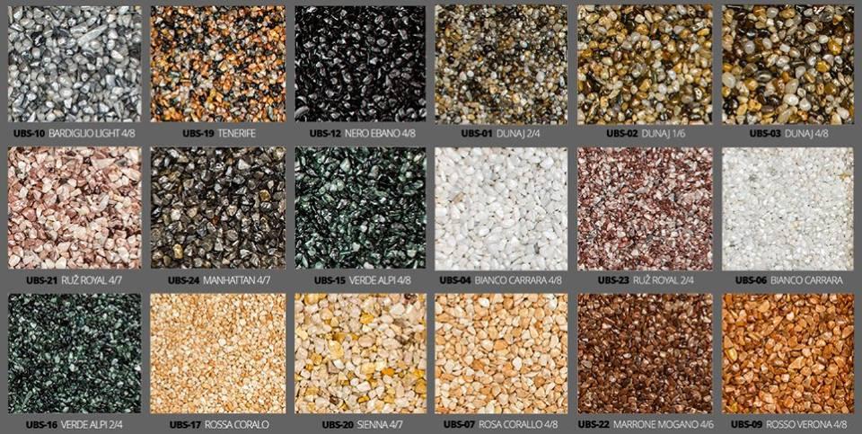 Kamenný koberec Stone - vzorník barev