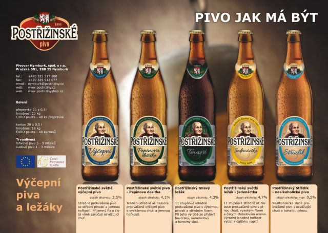 Výroba a prodej Postřižinských piv Nymburk - světlá, tmavá i nealkoholická piva