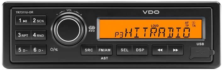 Autorádia VDO Děčín - 12V nebo 24V, USB, CD přehrávač, podpora MP3, oranžový LCD display