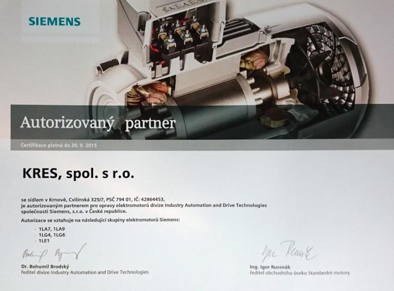 Autorizovaný partner pro opravy elektromotorů Siemens Opava, Ostrava